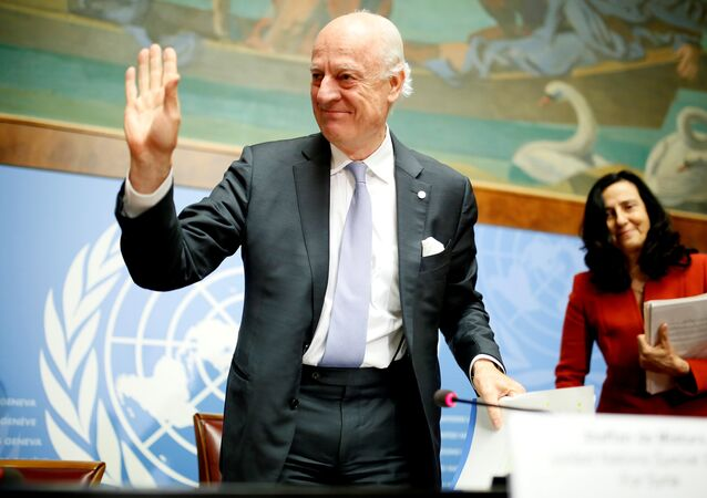 United Nations Special Envoy for Syria Staffan de Mistura leaves a news conference during the Intra Syria talks at the United Nations Offices in Geneva, Switzerland, May 19, 2017