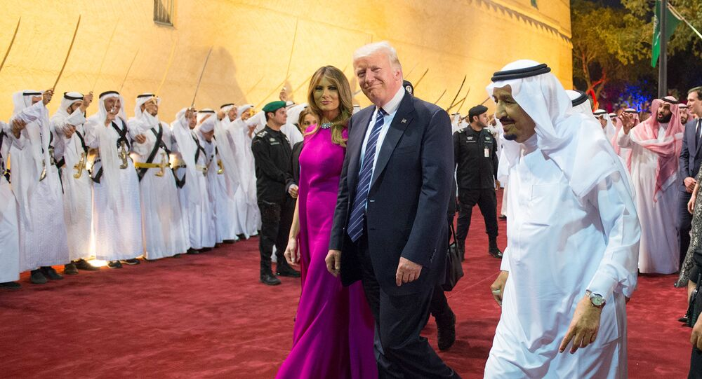 U.S. President Donald Trump and first lady Melania Trump are welcomed by Saudi Arabia's King Salman bin Abdulaziz Al Saud at Al Murabba Palace in Riyadh, Saudi Arabia May 20, 2017. Picture taken May 20, 2017
