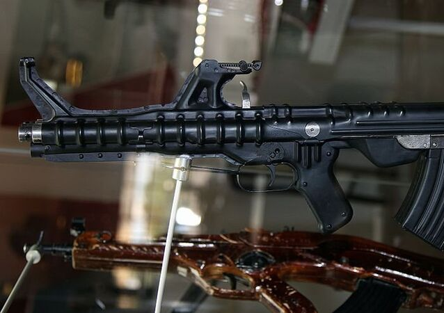Triple barrel TKB-059 Korobov assault rifle at Tula State Arms Museum