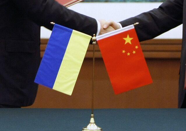 Flags of Ukraine and China