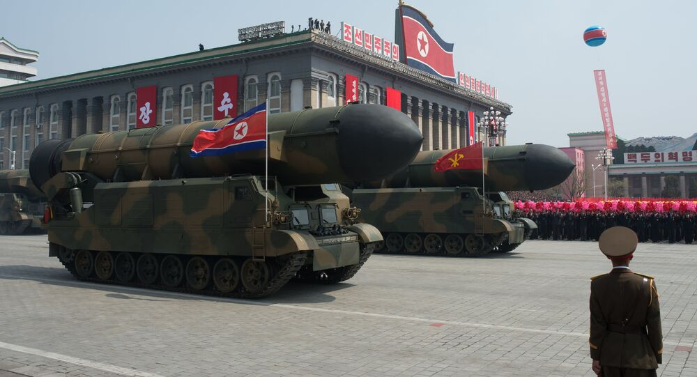 Military engineering vehicles during a military parade marking the 105th birthday of Kim Il-Sung, the founder of North Korea, in Pyongyang.