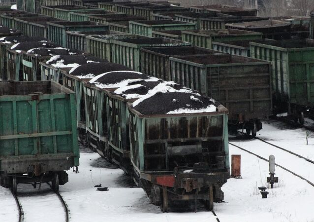 Carriages loaded with coal at the railway station in Donetsk. File photo