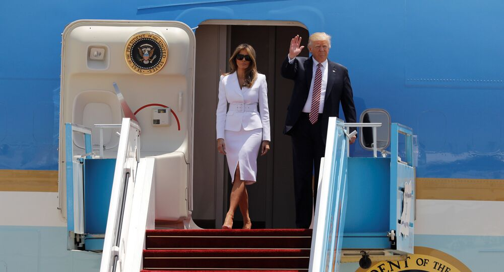U.S. President Donald Trump and first lady Melania Trump arrive aboard Air Force One at Ben Gurion International Airport in Lod near Tel Aviv, Israel May 22, 2017