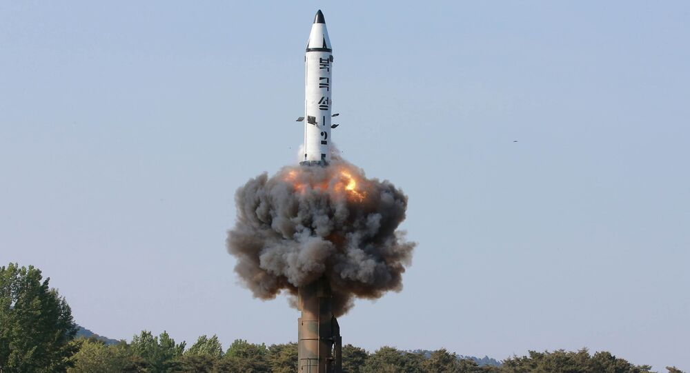 The scene of the intermediate-range ballistic missile Pukguksong-2's launch test in this undated photo released by North Korea's Korean Central News Agency (KCNA) May 22, 2017
