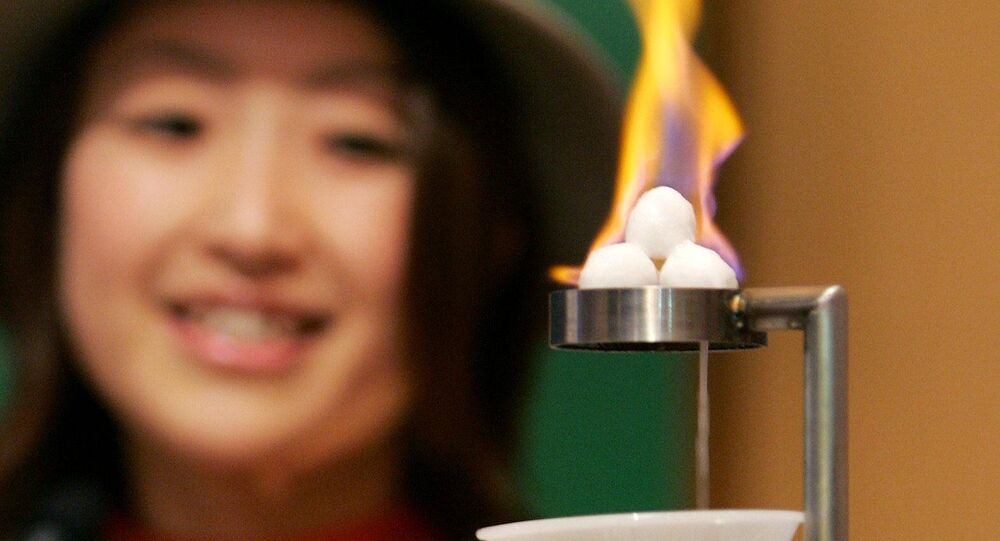 Attendant of Japan's Gas Pavilion introduces an experiment of the burning ice, methane hydrate, as a potential future source of energy during a press preview for the 2005 World Exposition in Nagakute, Aichi prefecture, 19 March 2005