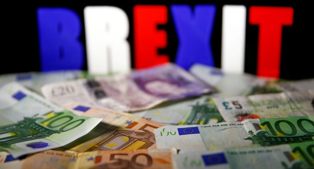 Euro and pound banknotes are seen in front of BREXIT letters in this picture illustration taken April 28, 2017.
