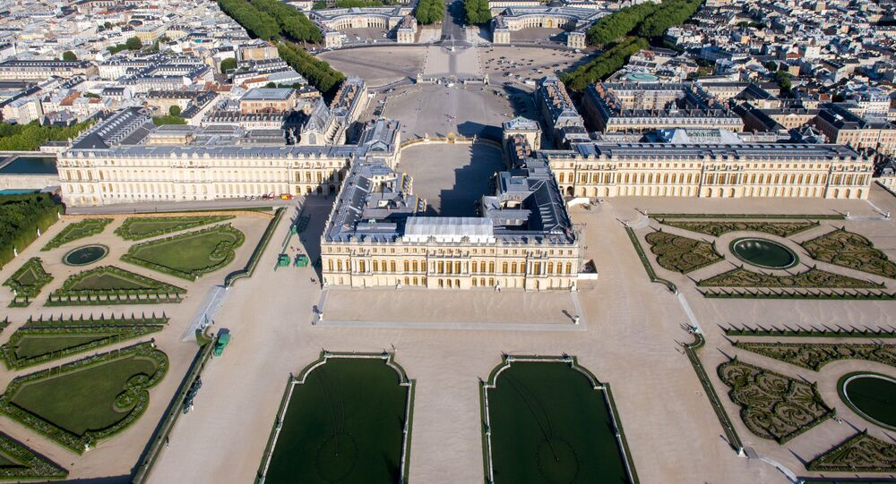 Aerial view of the Palace of Versailles, France