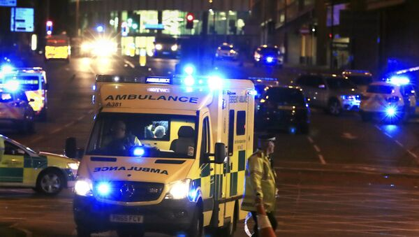 Emergency responders outside Manchester Arena after reports of an explosion at the venue during an Ariana Grandeconcert in Manchester, England, Monday, May 22, 2017. - Sputnik International