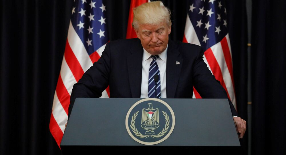 U.S. President Donald Trump speaks about the apparent attack in Manchester, England, before his remarks alongside Palestinian President Mahmoud Abbas after their meeting at the Presidential Palace in the West Bank city of Bethlehem May 23, 2017.