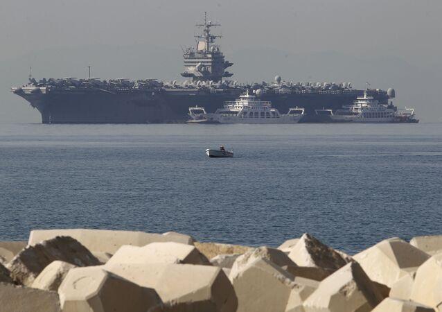 USS Enterprise, 5th Fleet, near the coast of Athens, 2012.