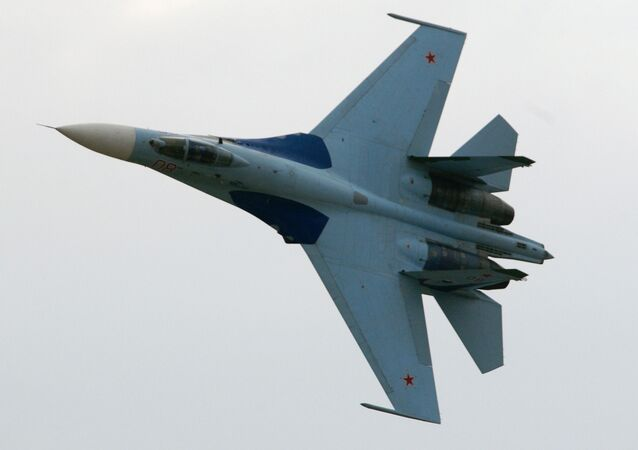 SU-27 fighter demonstration flight