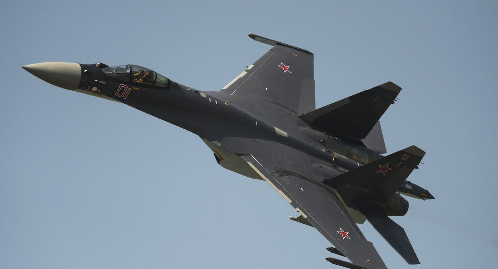 The Su-35 fighter performing on Air Force Day in Russia's Lipetsk. File photo