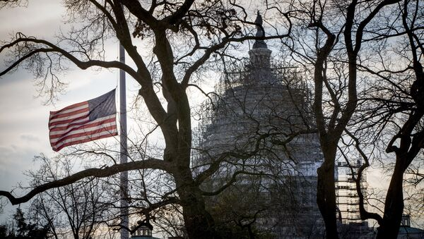 With the Capitol in the distance, the American flag flies at half-staff at the Supreme Court. (File) - Sputnik International