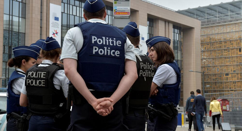 Belgian police officers patrol the area around the headquarters of different European institutions in Brussels, Belgium May 24, 2017.