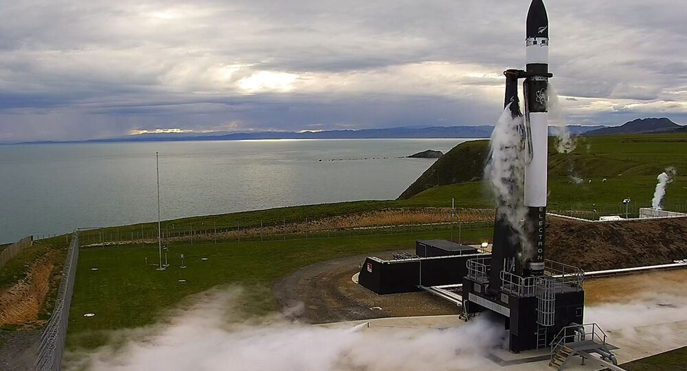 This photo supplied by Rocket Lab, shows the Electron rocket about to launch from the Mahia Peninsula in the North Island of New Zealand, Thursday, May 25, 2017.