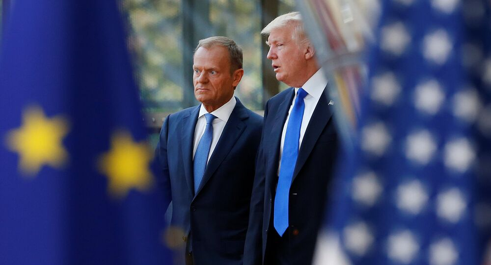 U.S. President Donald Trump (R) walks with the President of the European Council Donald Tusk in Brussels, Belgium, May 25, 2017.