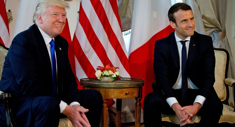 US President Donald Trump (L) meets French President Emmanuel Macron before a working lunch ahead of a NATO Summit in Brussels, Belgium, May 25, 2017
