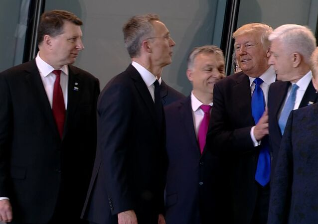 In this image taken from NATO TV, Montenegro Prime Minister Dusko Markovic, second right, appears to be pushed by US President Donald Trump