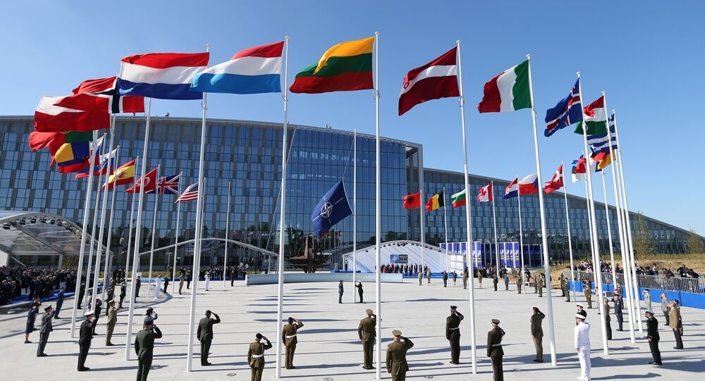 Flags of NATO member countires fly during a ceremony at the new NATO headquarters before the start of a summit in Brussels, Belgium, May 25, 2017