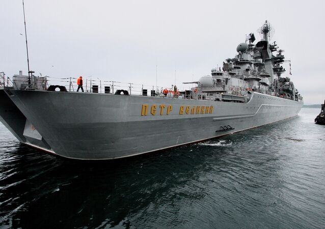 The Peter the Great cruiser seen in the Strelok Gulf. File photo