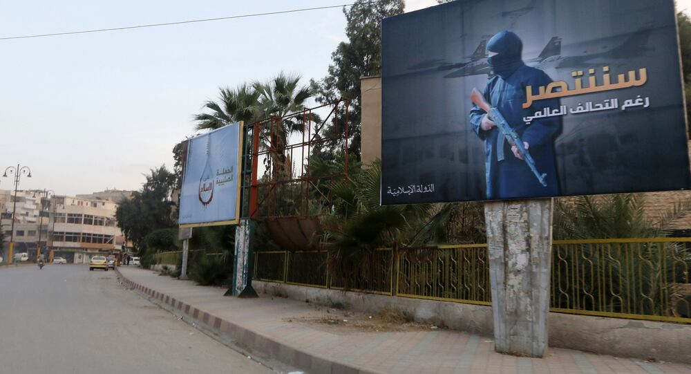 Daesh billboards are seen along a street in Raqqa, eastern Syria. The billboard (R) reads: We will win despite the global coalition (File)
