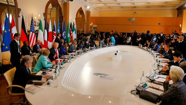 General view of the discussion table at the G7 Summit expanded session in Taormina, Sicily, Italy, May 27, 2017 - Sputnik International