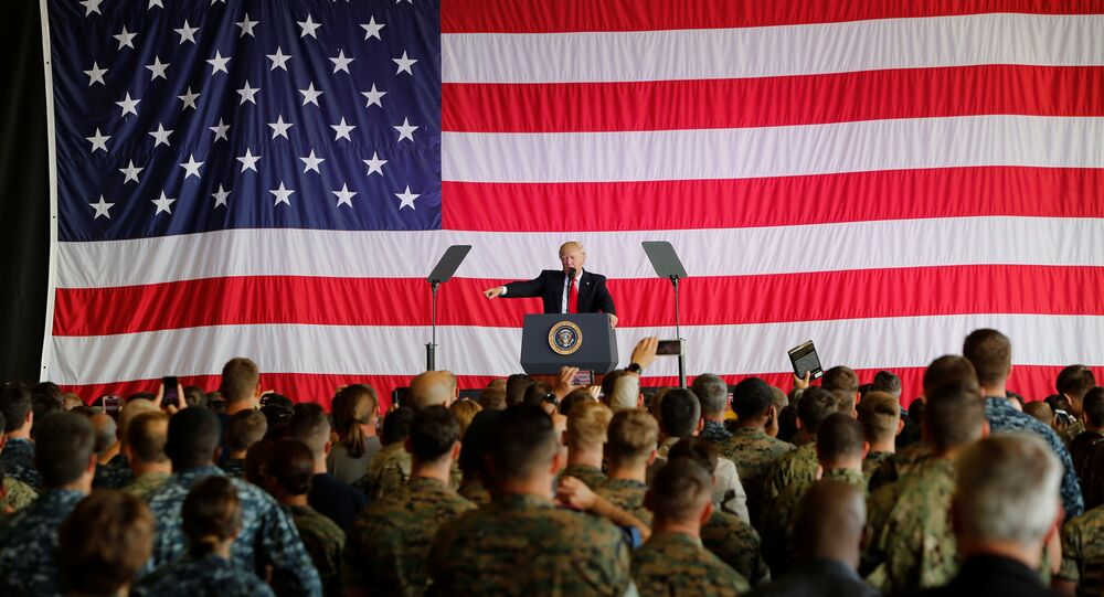 U.S. President Donald Trump delivers remarks to U.S. military personnel at Naval Air Station Sigonella following the G7 Summit, in Sigonella, Sicily, Italy, May 27, 2017