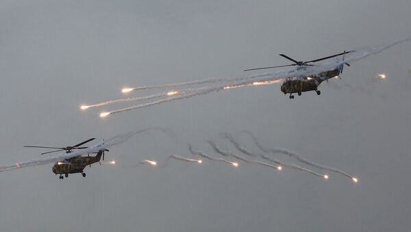 South Korean army Surion helicopters fire flares during a South Korea-U.S. joint military live-fire drills at Seungjin Fire Training Field in Pocheon, South Korea, - Sputnik International