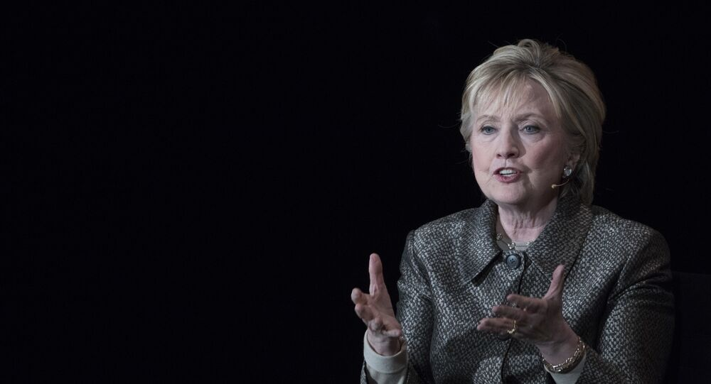Former Secretary of State Hillary Clinton speaks during the Women in the World Summit at Lincoln Center in New York, Thursday, April 6, 2017