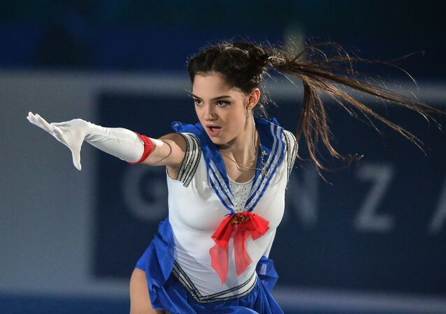 Yevgenia Medvedeva of Russia performs at the ISU World Team Trophy 2017 gala exhibition in Tokyo