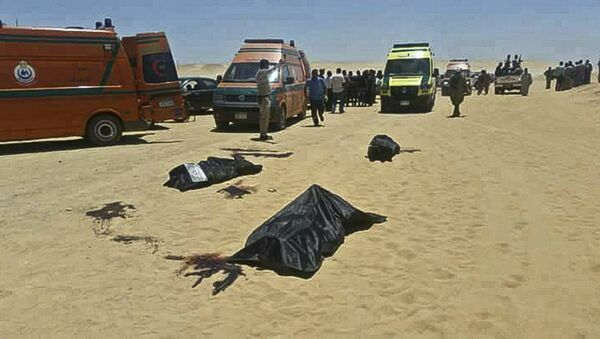 This image released by the Minya governorate media office shows bodies of victims killed when gunmen stormed a bus in Minya, Egypt, Friday, May 26, 2017. Egyptian officials say dozens of people were killed and wounded in an attack by masked militants on a bus carrying Coptic Christians, including children, south of Cairo - Sputnik International