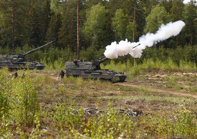 German army armoured hotwitzer 2000 fires during NATO enchanced Forward Presence Battle Group Lithuania live shooting exercise in Pabrade military training field, Lithuania, May 17, 2017