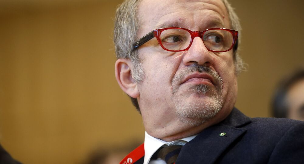 Lombardy Region president Roberto Maroni attends a convention at the Unicredit tower in Milan, Italy, Friday, Nov.7, 2014