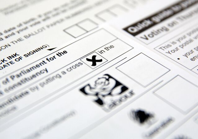 Postal voting papers for the UK general election, which took place June 8, 2017, are seen in this illustration picture