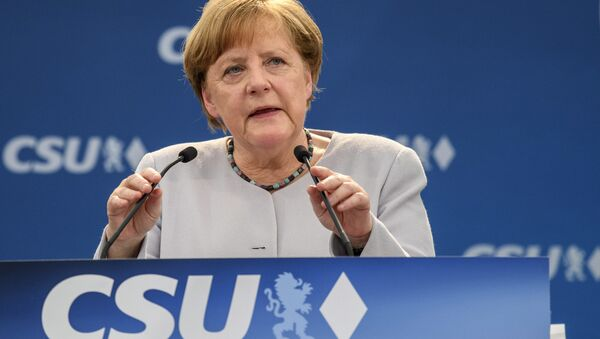 German Chancellor Angela Merkel delivers a speech during an election campaign of her Christian Democratic Union, CDU, and the Christian Social Union, CSU, in Munich, southern Germany, Sunday, May 28, 2017 - Sputnik International