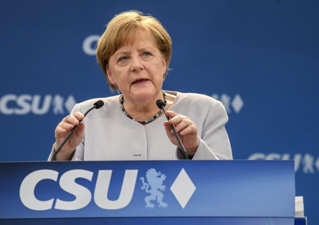 German Chancellor Angela Merkel delivers a speech during an election campaign of her Christian Democratic Union, CDU, and the Christian Social Union, CSU, in Munich, southern Germany, Sunday, May 28, 2017