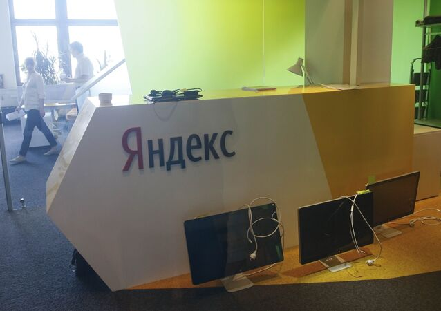 Unplugged computer monitors are seen through a glass door in the office of the Russian internet group Yandex in Kiev, Ukraine, May 29, 2017