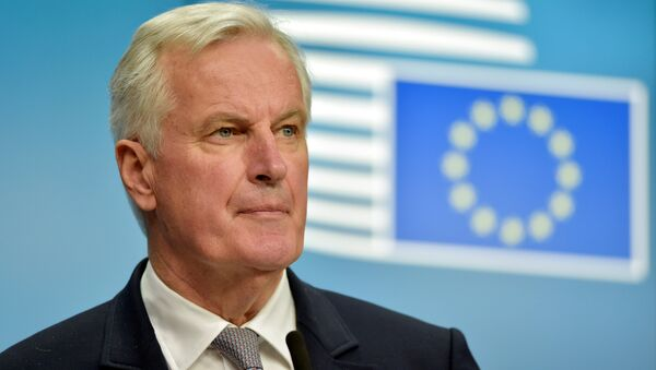 European Union Chief Negotiator for Brexit Michel Barnier looks on during a news conference after a European General Affairs Ministers meeting in Brussels, Belgium May 22, 2017. - Sputnik International