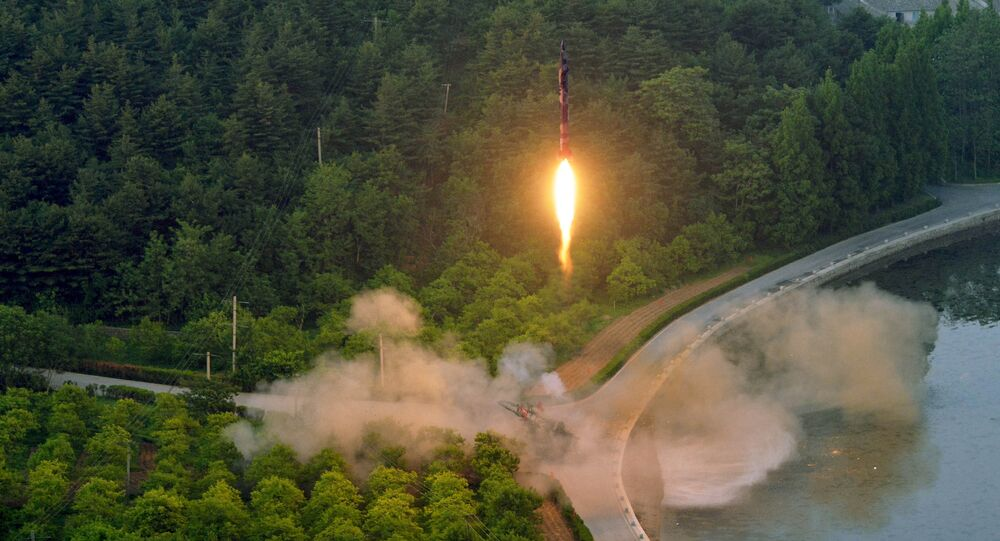 A ballistic rocket is test-fired through a precision control guidance system in this undated photo released by North Korea's Korean Central News Agency (KCNA) May 30, 2017