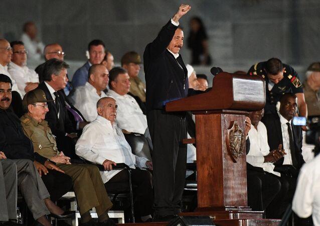 Nicaraguan President Daniel Ortega speaks during a gathering in memory of Cuban revolutionary leader Fidel Castro on Havana's Revolution Square