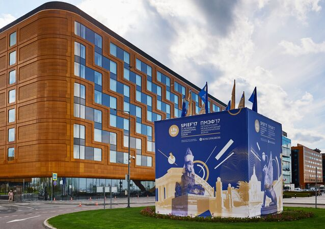 The Expoforum pavilions and hotels prior to the 2017 St. Petersburg International Economic Forum (SPIEF)
