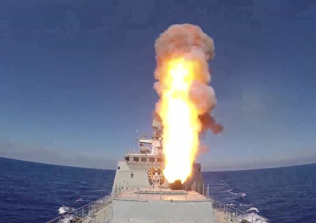 Russian frigate Admiral Essen launches Kalibr cruise missiles at ISIS facilities (the Islamic State international terrorist organization banned in Russia) near Palmyra