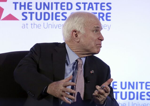 U.S. Sen. John McCain after delivering a speech at the invitation of the United States Studies Centre in Sydney, Tuesday, May 30, 2017