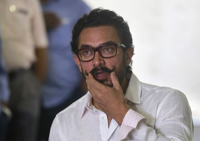 Bollywood actor Aamir Khan speaks to media on his 52th birthday in Mumbai, India, 14 March 2017.