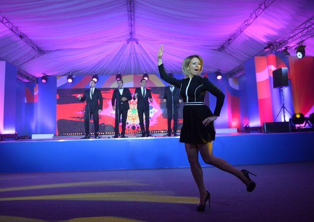 Maria Zakharova performs Kalinka dance in Sochi