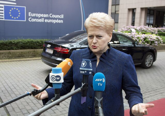 Lithuanian President Dalia Grybauskaite speaks with the media as she arrives for an EU summit in Brussels on Wednesday, June 29, 2016.