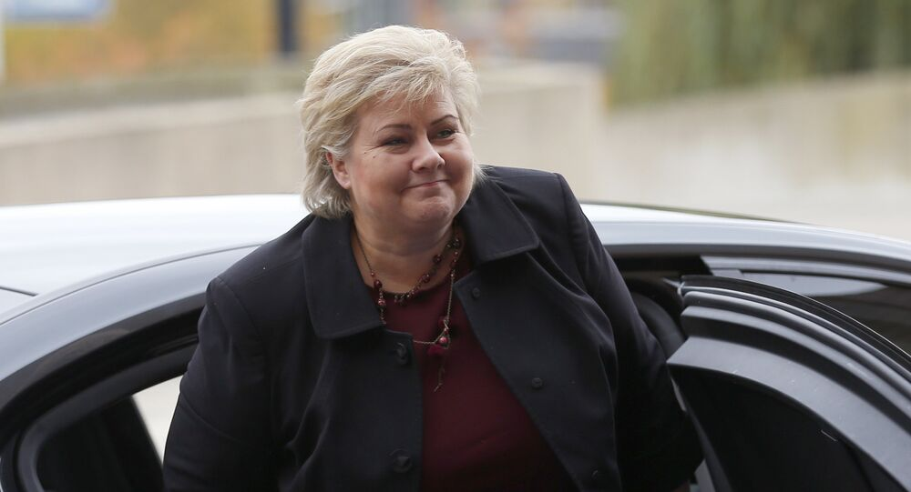 Norway's Prime Minister Erna Solberg arrives for a meeting of the European People's Party in Maastricht, southern Netherlands, Thursday, Oct. 20, 2016.