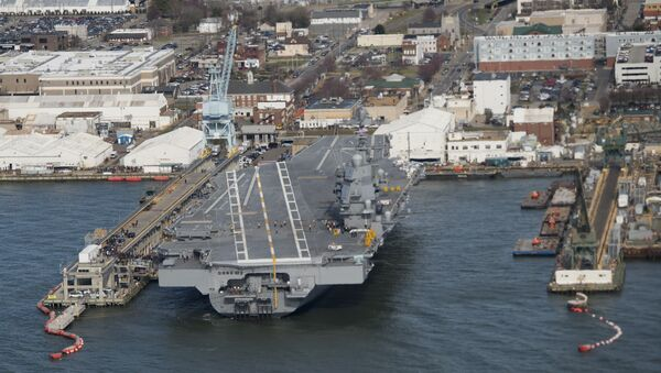 The pre-commissioned USS Gerald R. Ford aircraft carrier is seen after a visit by US President Donald Trump in Newport News, Virginia - Sputnik International