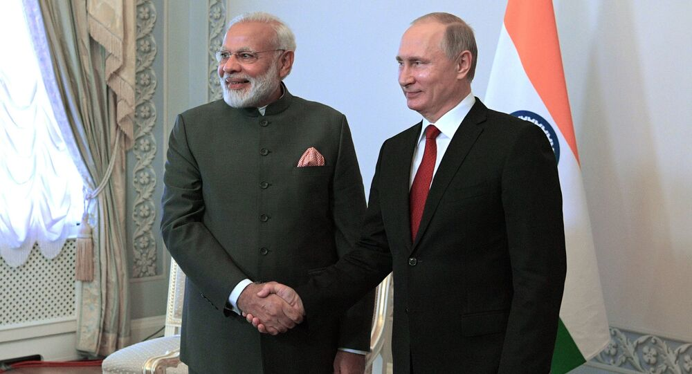Russian President Vladimir Putin and Indian Prime Minister Narendra Modi, left, during their meeting at St. Petersburg International Economic Forum 2017 in Konstantinovsky Palace in Strelna