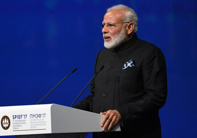 India's Prime Minister Narendra Modi delivers a speech during a session of the St. Petersburg International Economic Forum (SPIEF), Russia, June 2, 2017.